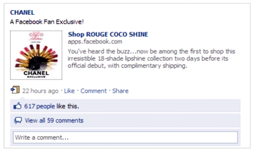 "Screen shoot af Chanels""Shop Rouge Coco Shine"" på Facebook"