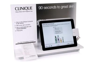 "Cliniques iPad "" Skin Diagnostic Tool"", som giver 180.000 mulige produktanbefalinger."