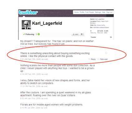 Screen shot af Karl Lagerfelds tweet februar 2009.
