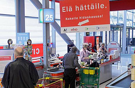 Den langsomme kasselinje i K-citymarket. Foto: Kesko